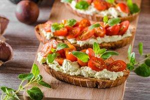 Fresh cheese panini bread with herbs