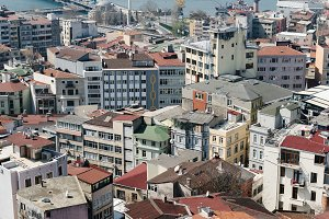 ISTANBUL - MARCH 24, 2017: Panoramic view of Istanbul rooftops from the Galata Tower, Turkey.