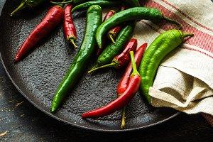 Organic  chilli pepper concept
