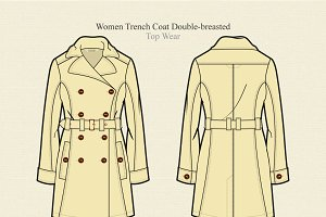 Women Trench Coat Double-breasted