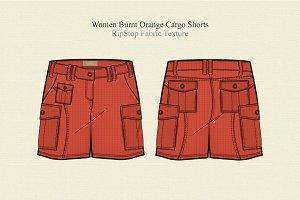 Women Burnt Orange Cargo Shorts