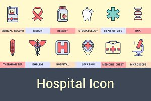 Set of icons on a medical theme.