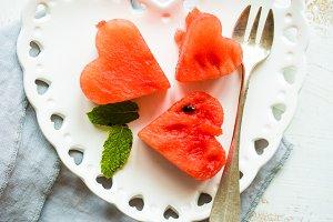 Organic watermelon heart shaped