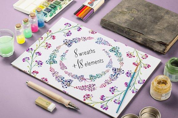 Lavender Floral Clip Art Wreaths