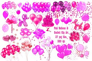 Pink Balloons & Confetti ClipArt