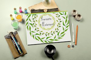 Watercolor green clip art wreath