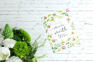 Watercolor floral wedding clipart