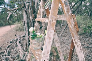 Vintage Ladder with Flowers