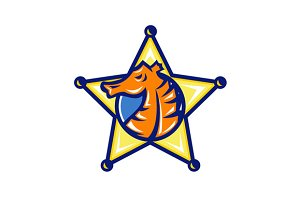 Seahorse Sheriff Star Isolated