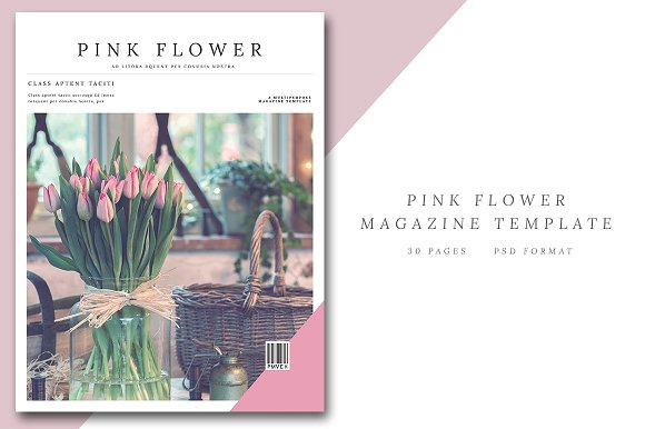Pink Flower Magazine Template