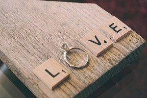 Love Scrabble Letters & Diamond Ring