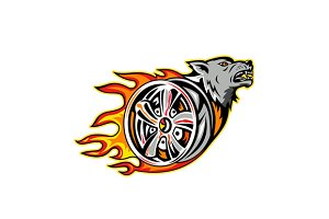 Wolf on Flaming Wheel Rim