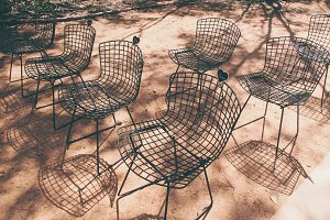 Bertoia Chairs Outdoors on Sand