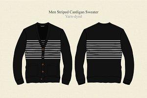 Men Striped Cardigan Sweater