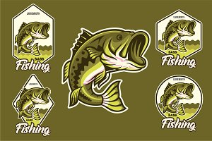Largemouth Bass Jumping + Emblem