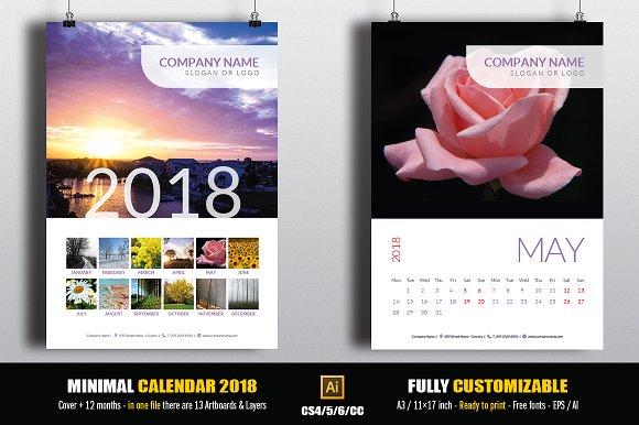Minimal Calendar 2018