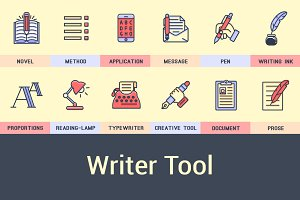 Writers Set of icons into flat style