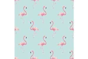 Watercolor Flamingos Pattern