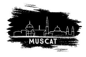 Muscat Oman Skyline Silhouette.