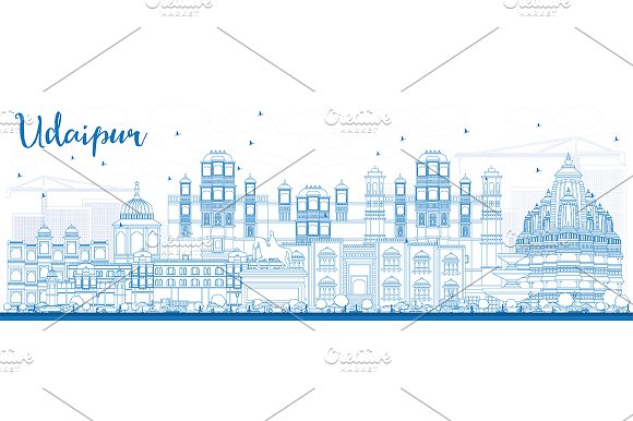 Outline Udaipur Skyline