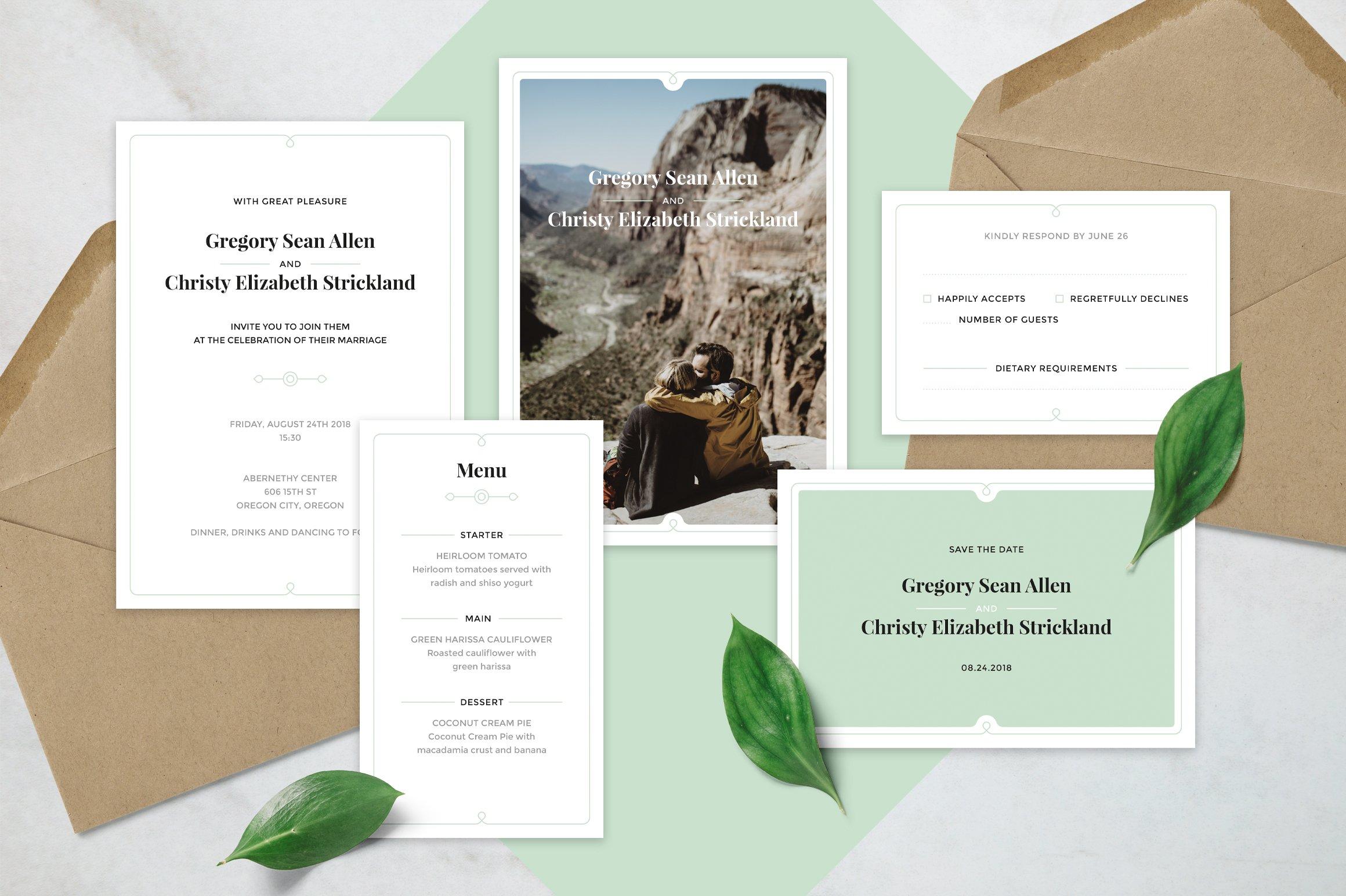 Clean Wedding Invitation Suite ~ Invitation Templates ~ Creative Market