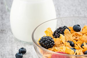Healthy breakfast with milk,cereals
