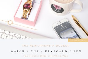 iPhone 7 Mockup (Watch,Cup,Pen)