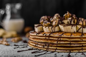 Rustic pancakes with banana