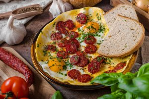 Omelette with chorizo and herbs