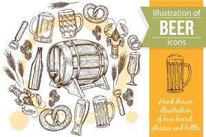 Templates With Beer Sketch Icons