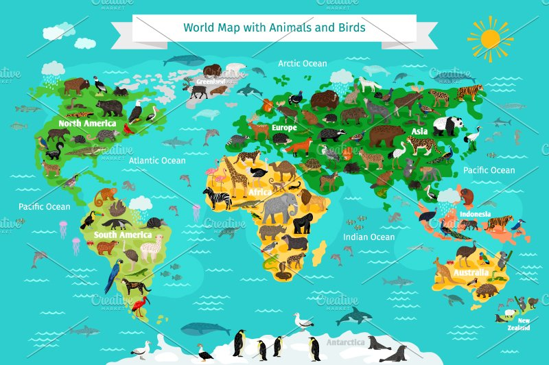 World Map With Animals Illustrations Creative Market