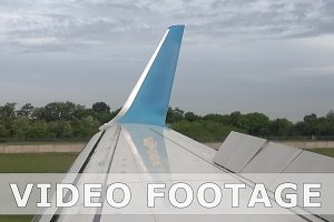 Plane is landing on runway in airport