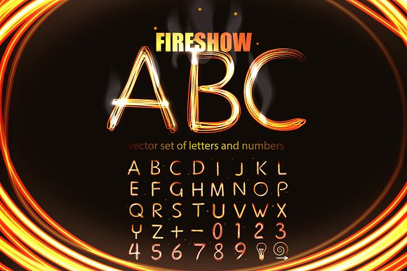 Fireshow Style Letters And Numbers