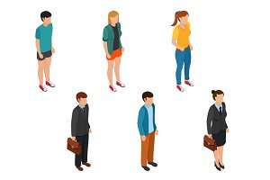 Isometric people set