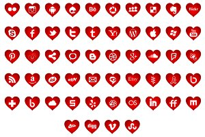 Social media icons - heart shapes