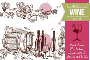 Wine Sketch Illustrations