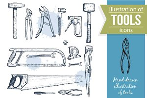 Repair Tools Sketch Illustrations