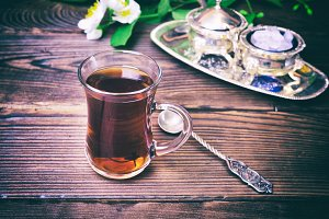 Black tea in a glass Turkish