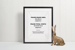 Black picture frame + gold rabbit