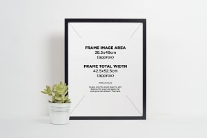 Black picture frame with plant