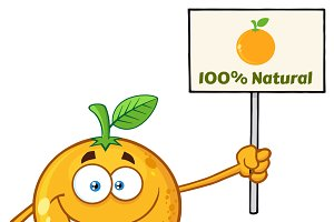 Happy Orange Fruit Holding A Sign