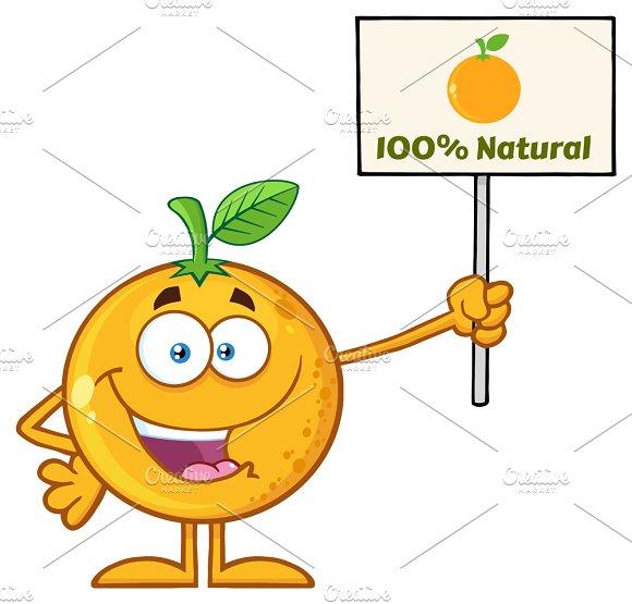 Happy Orange Fruit Holding A Sign
