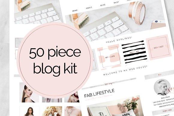 50 Piece Blog Kit Marble Rose Gold