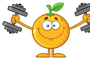 Smiling Orange Fruit With Dumbbells