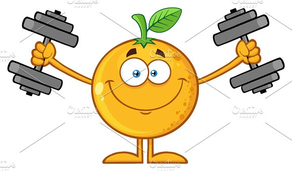 Smiling Orange Fruit With Dumbbells