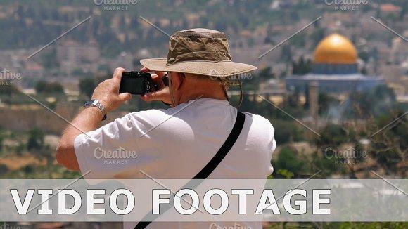 Tourist Takes A Photo Of Jerusalem Old City View