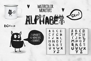 Watercolor monsters Alphabet