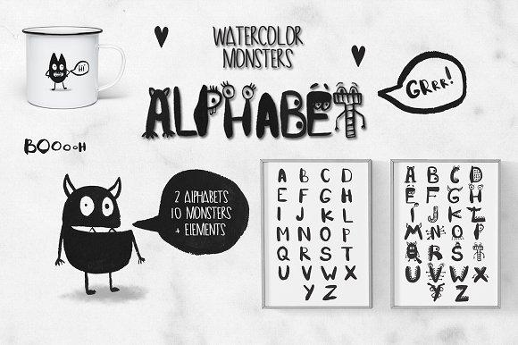 Watercolor Monsters Alphabet