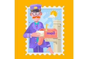 Postman In Purple Uniform Delivering Mail, Putting Letters In Mailbox. Flat Vector Illustration