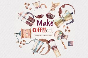 Watercolor Make Coffee set. 27 pcs